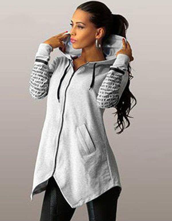 2019 automne hiver sweat à capuche pour femme shirts pull imprimé lettre harajuku grande taille zipper irrégulière haut de sport
