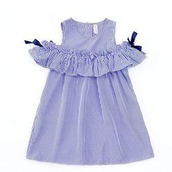 Hot 2018 Baru Musim Panas Gaun Balita Anak-anak Bayi Perempuan Indah Ulang Tahun Pakaian Biru Striped off-bahu Ruffles Party Gown Dresses