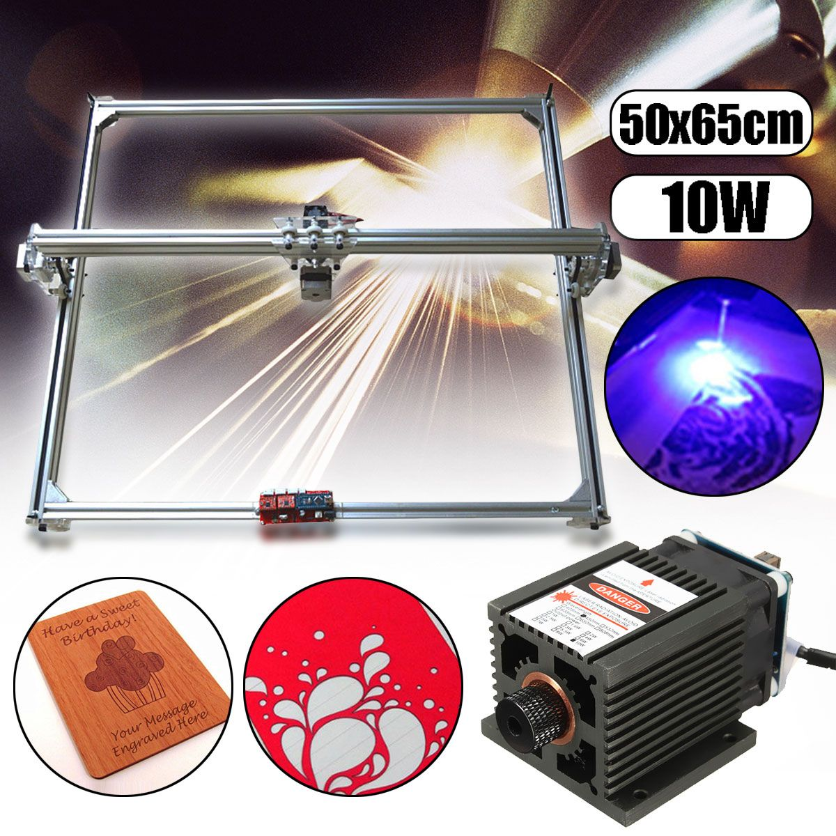 50*65cm Area Mini Laser Engraving Cutting Machine Printer DC 12V Wood Cutter + 10W Blue Laser Head Power Adjust DIY Desktop Kit