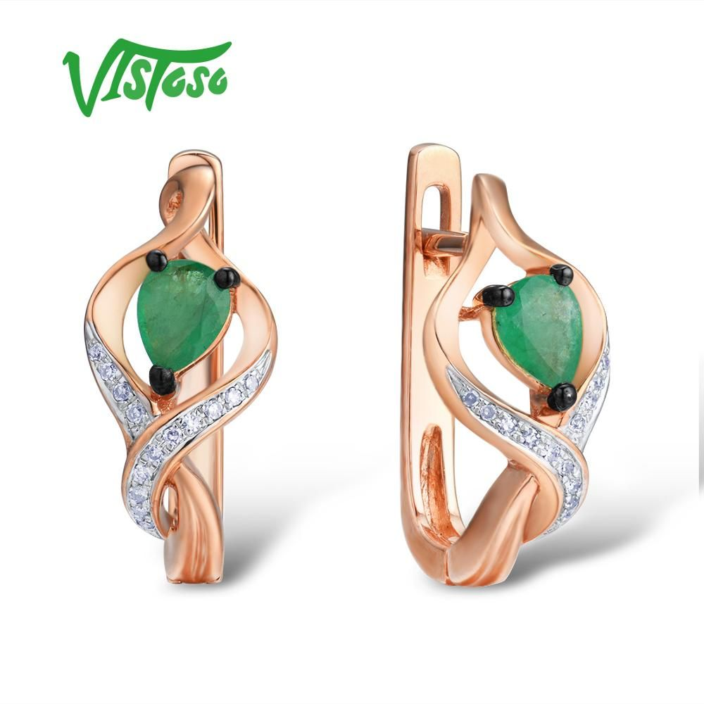 VISTOSO Gold Ohrringe Für Frauen 14 K 585 Rose Gold Glamorous Elegante Shiny Funkelnden Smaragd Diamant GlamorousTrendy Edlen Schmuck