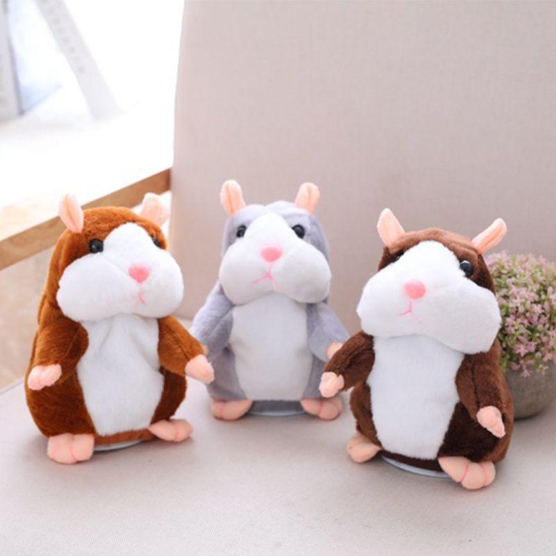 Livraison directe Promotion 15 cm douce parler hamster parler enregistrement sonore répétition peluche kawaii hamster animaux jouets