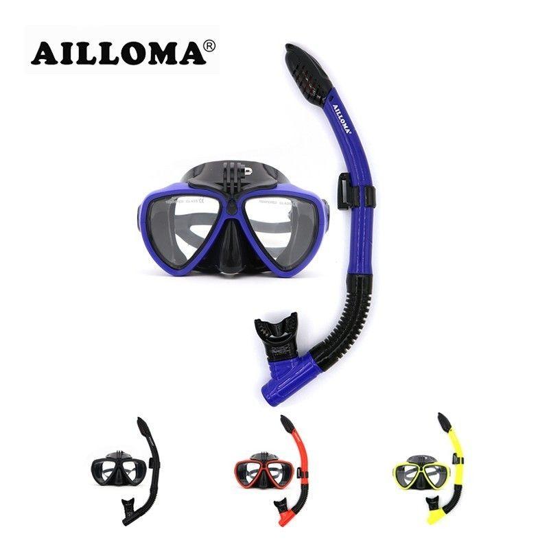 AILLOMA caméra masque de plongée sous-marine tuba Set équipement en Silicone avec tuba complète natation plongée en apnée Anti-buée lunettes