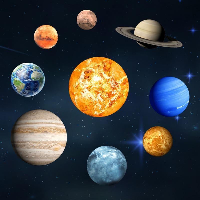 9 pièces/ensemble 9 planète système solaire Fluorescent mur bâton l'univers planète galaxie enfants chambre chambre lumineuse Stickers muraux