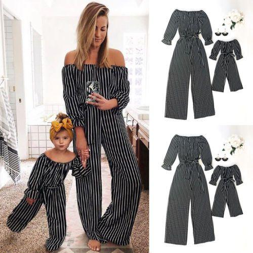 Mode rayé famille correspondant vêtements mère et fille vêtements maman et moi barboteuse femmes bébé fille combinaison décontracté tenues