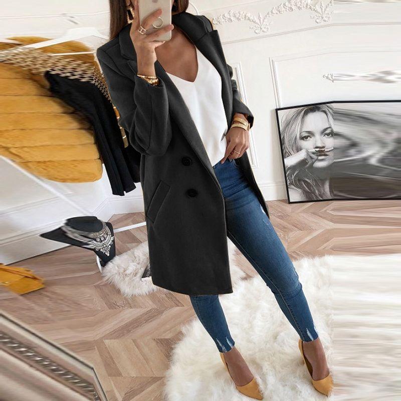 Femmes automne hiver laine manteau à manches longues col rabattu surdimensionné blazer vêtements d'extérieur veste élégant pardessus ample grande taille