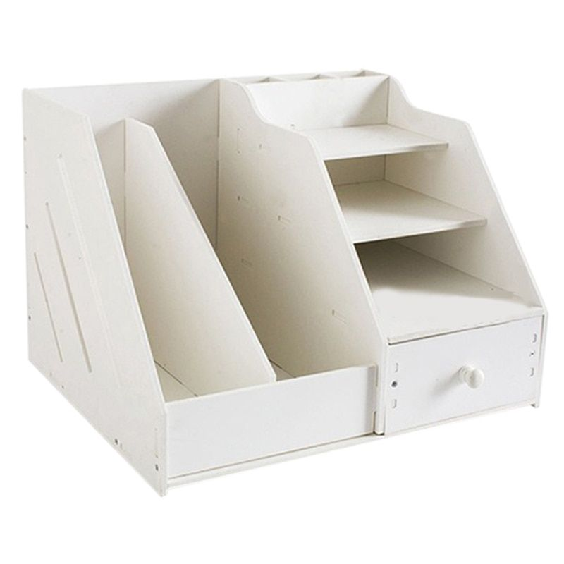 Multi Use Desktop Stationery Organizer Box With Document File Book Stand and Pen Holder Drawer Rack for Memo Note Pad