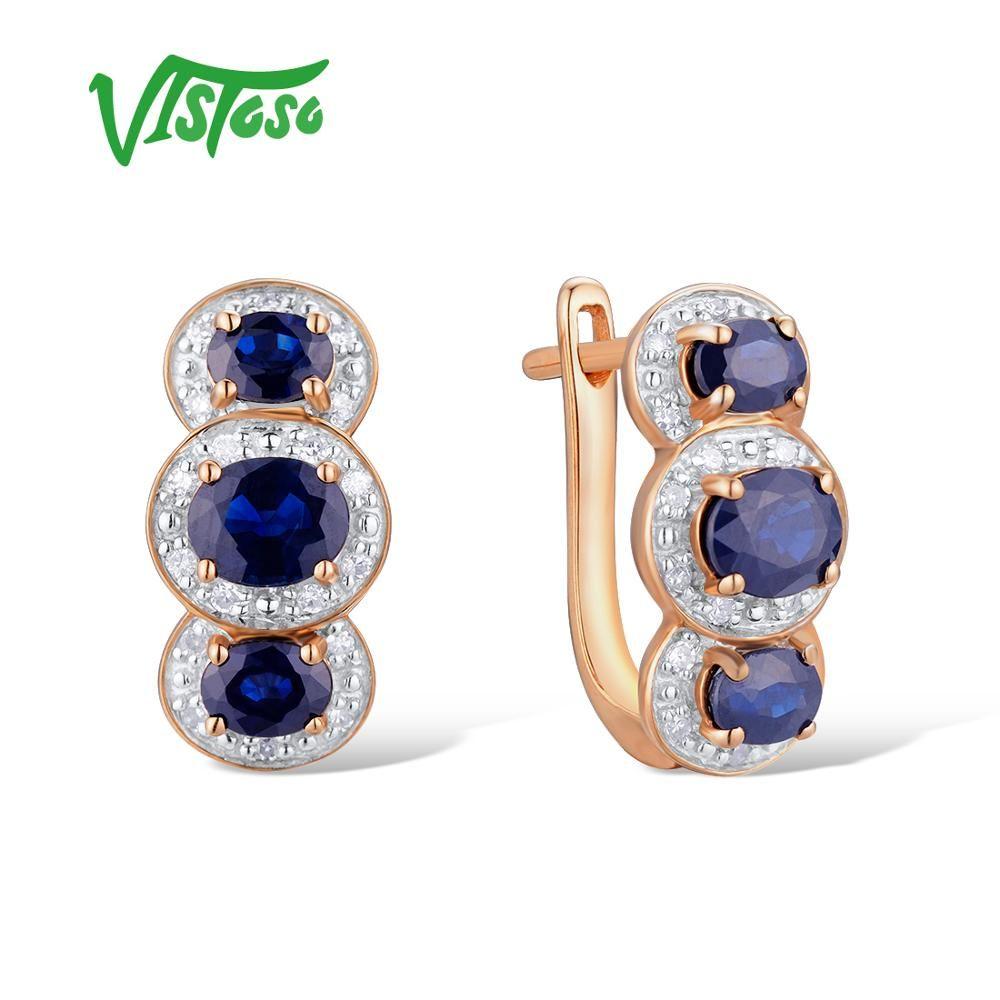 VISTOSO Gold Ohrringe Für Frauen 14 K 585 Rose Gold Funkelnde Blaue Saphir Diamant Hochzeit Band Engagement Luxus Edlen Schmuck