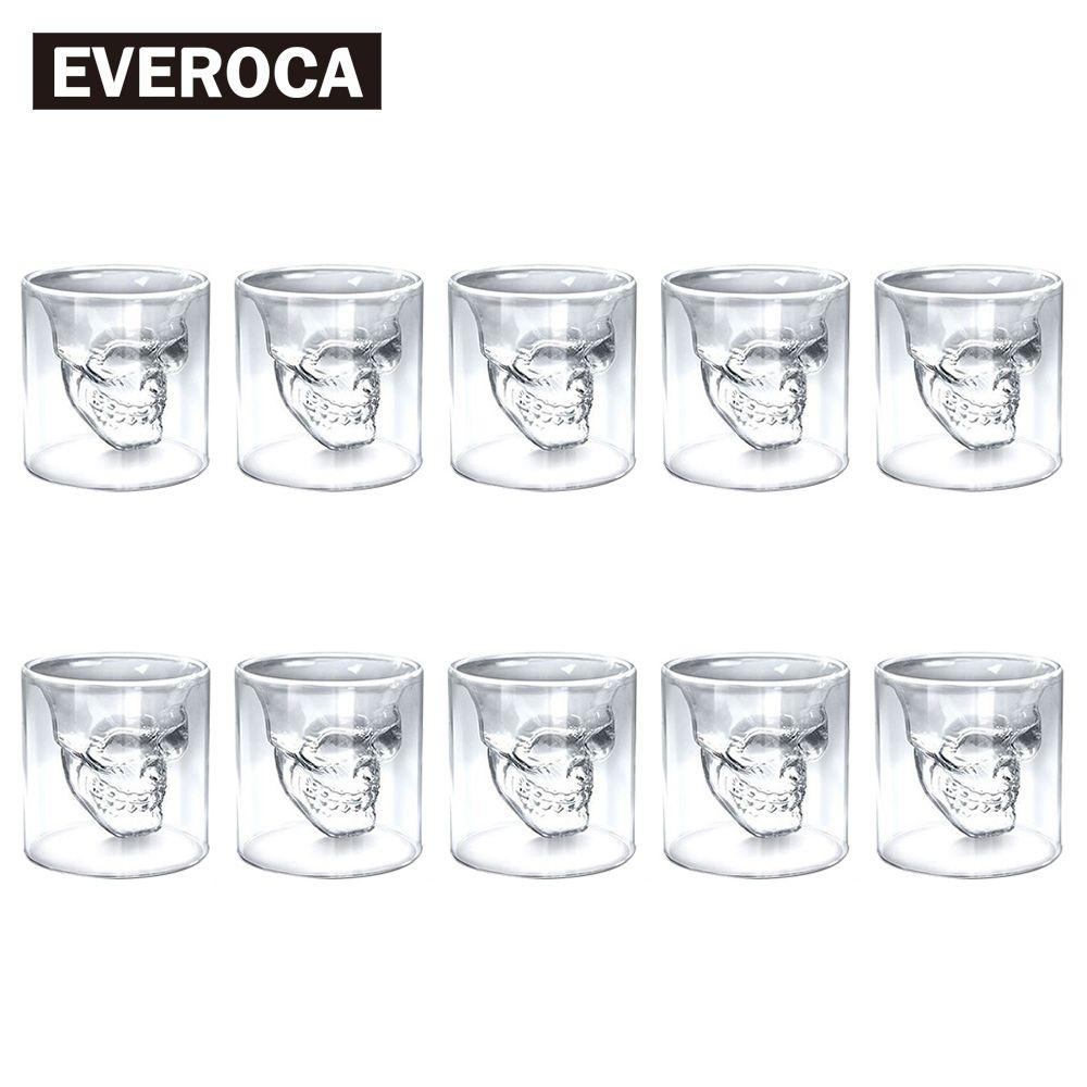 4pcs 8pcs 12pcs Skull Head Shot Glass Cup Beer Mug Wine Glass Mug Crystal Whisky Vodka Coffee Cup 25ml~150ml Gift Bottle