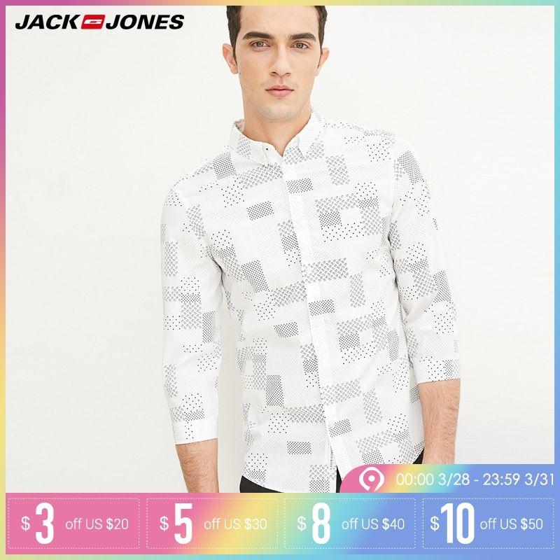 Jack & Jones Marque 2018 NOUVEAU COTON punk style plaid mâle mince col marin trois trimestre manches chemises décontractées | 216231509