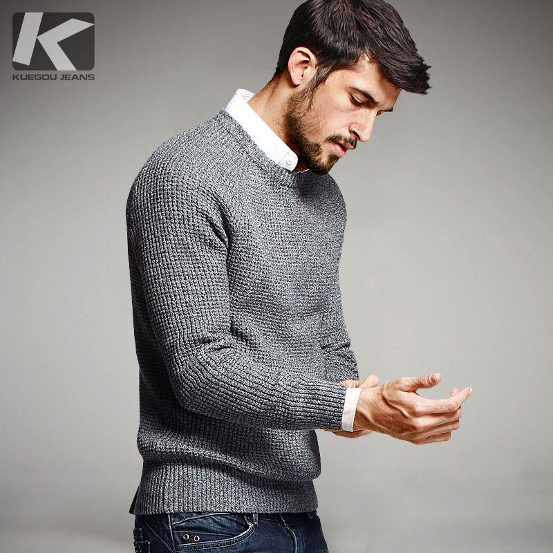 KUEGOU automne hommes chandails 100% coton gris couleur tricoté marque vêtements homme tricots pulls à tricoter grande taille hauts 14012