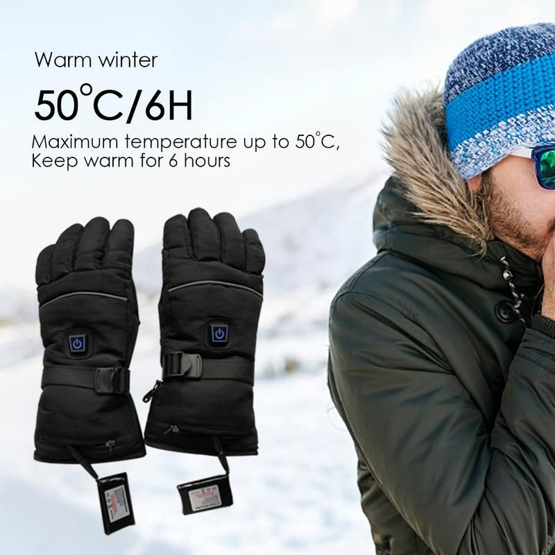 Three-Way Switch Electric Heated Gloves Five-Finger Heated Gloves Warm Winter Gloves For Men&Women Outdoor Accessories