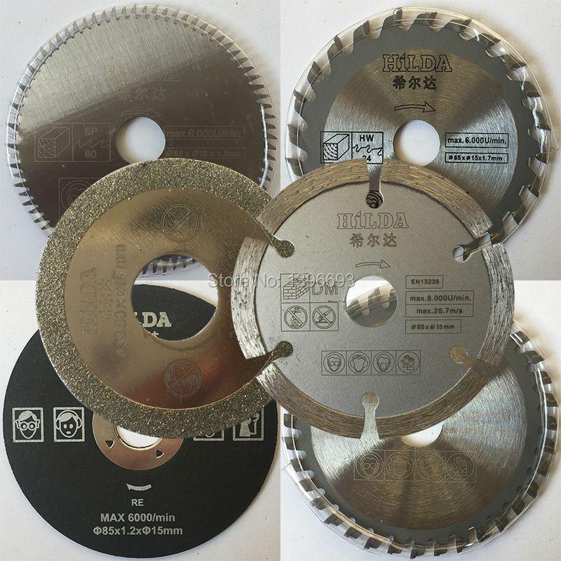 6 accessoires de pièces/ensemble pour mini scie circulaire électrique, scie multi-vitesse dick diamètre 85mm, lame de scie, lames d'accessoires pour outils électriques