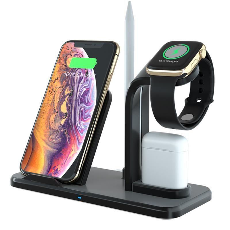 Pour iWatch 4 3 2 1 support de chargement Qi Base de Station de charge rapide pour iphone 8 Plus/2 1:1 AirPods chargeur 3 en 1 chargeur sans fil