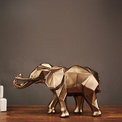 Mrzoot Gold Modern Geometris Emas Gajah Resin Rumah Dekorasi Aksesoris Kerajinan Patung Patung Perhiasan Ornamen