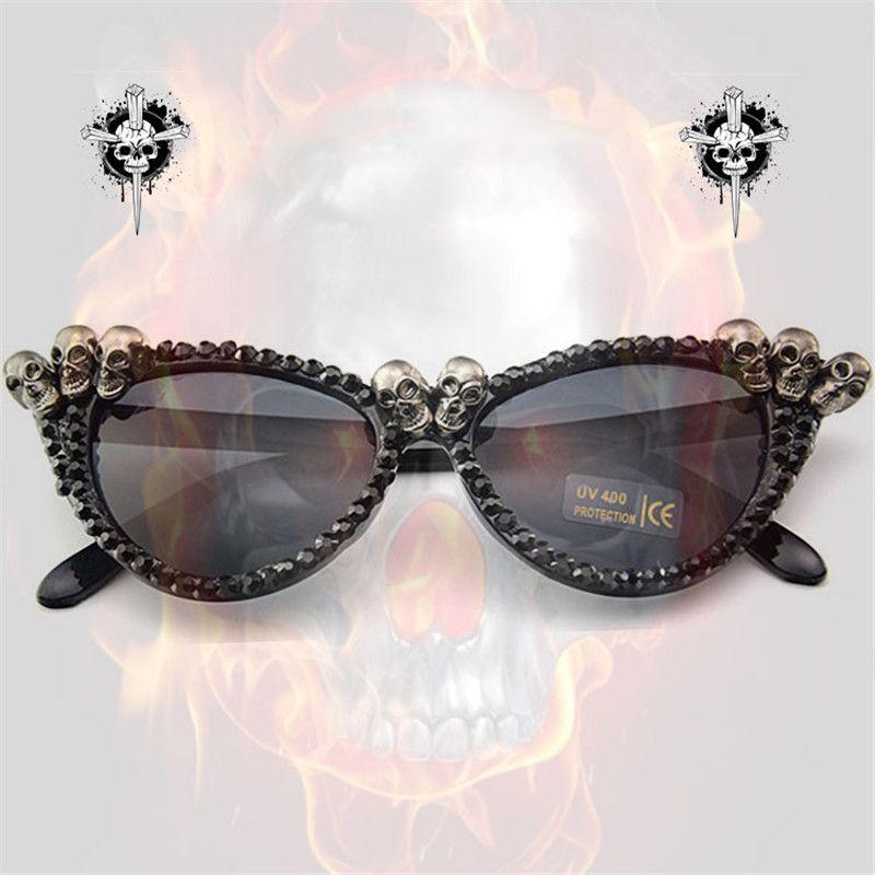 Vazrobe à la main yeux de chat lunettes de soleil femmes crâne lunettes femme strass bricolage Steampunk livraison directe en gros partie vente en lot