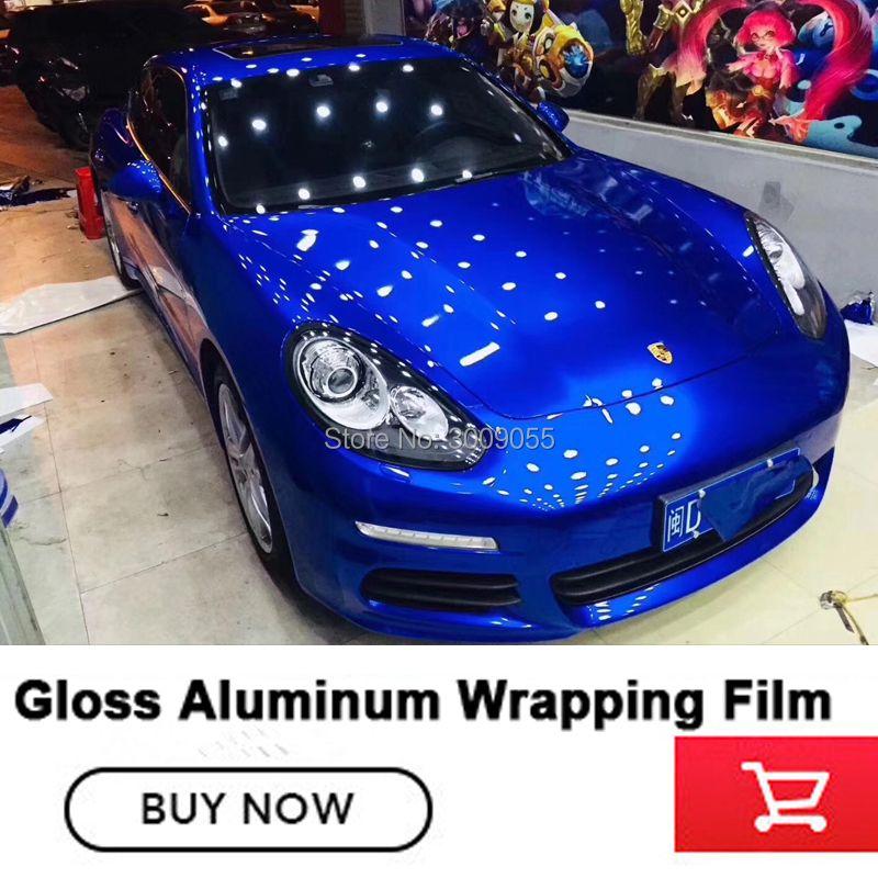 Blau gloss metallic vinyl wrap Rolle Für auto 1,52x20 m/Rolle 5ftx65ft vinil wrap Hohe temperatur widerstand