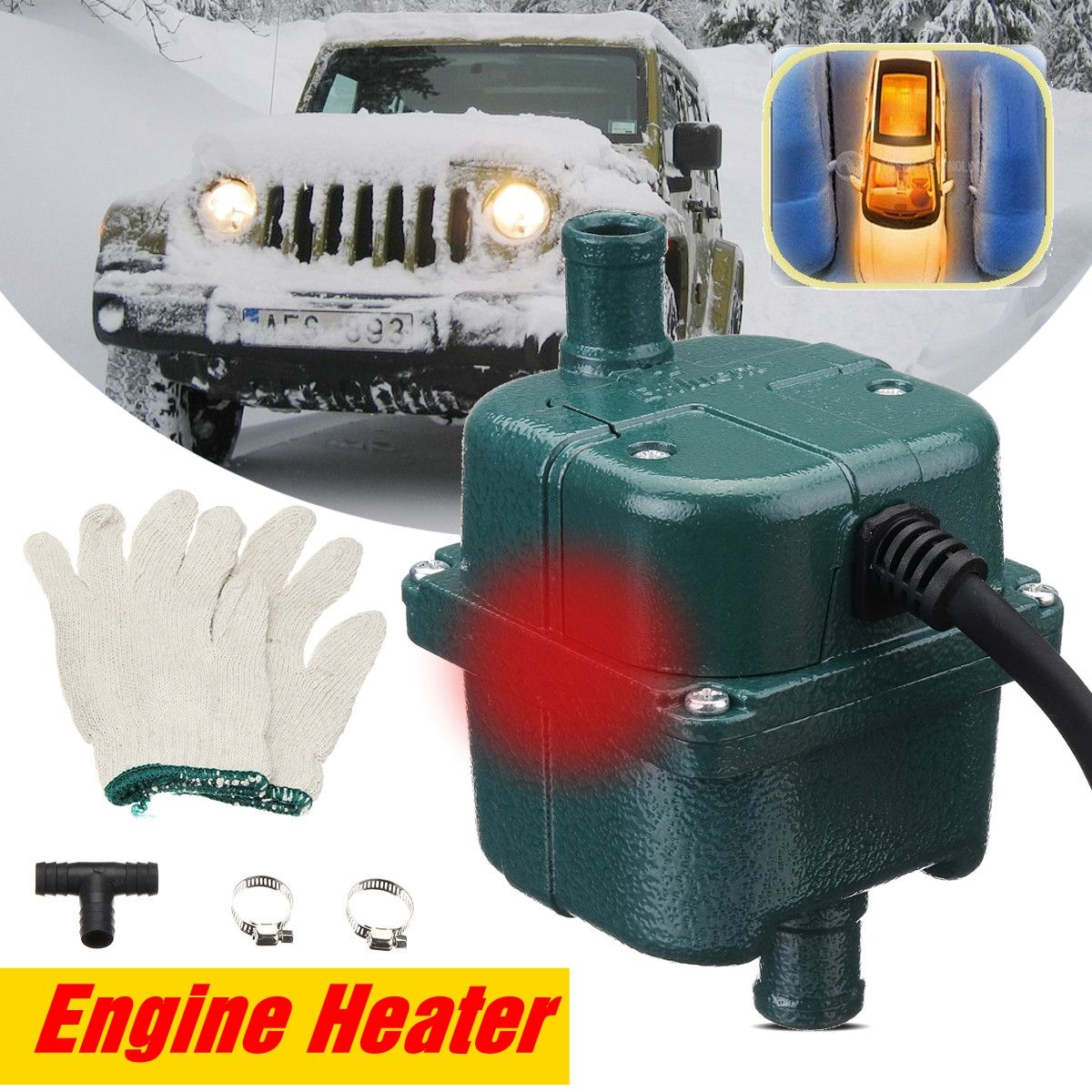 220V 1000W/ 1500W Auto Car Engine Pump Water Tank Air Cooled Engine Heater Preheater