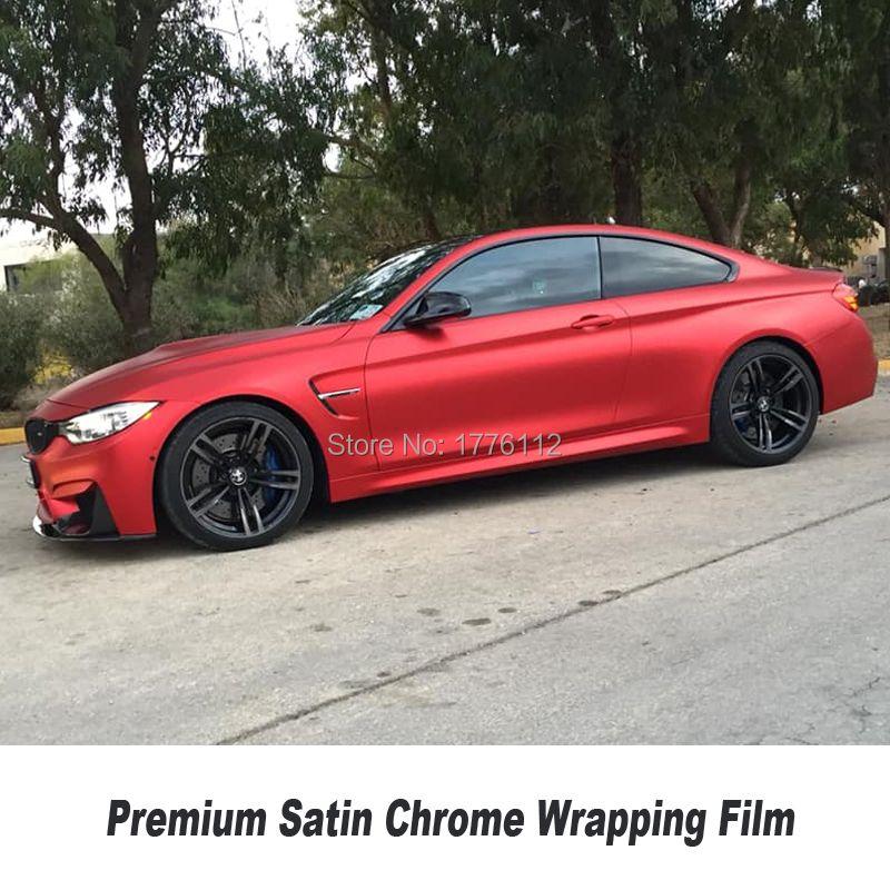 Hochwertige upgrade satin chrome vinyl serie auto rot satin chrome vinyl wrap Mehrere farb Willkürliche wahl