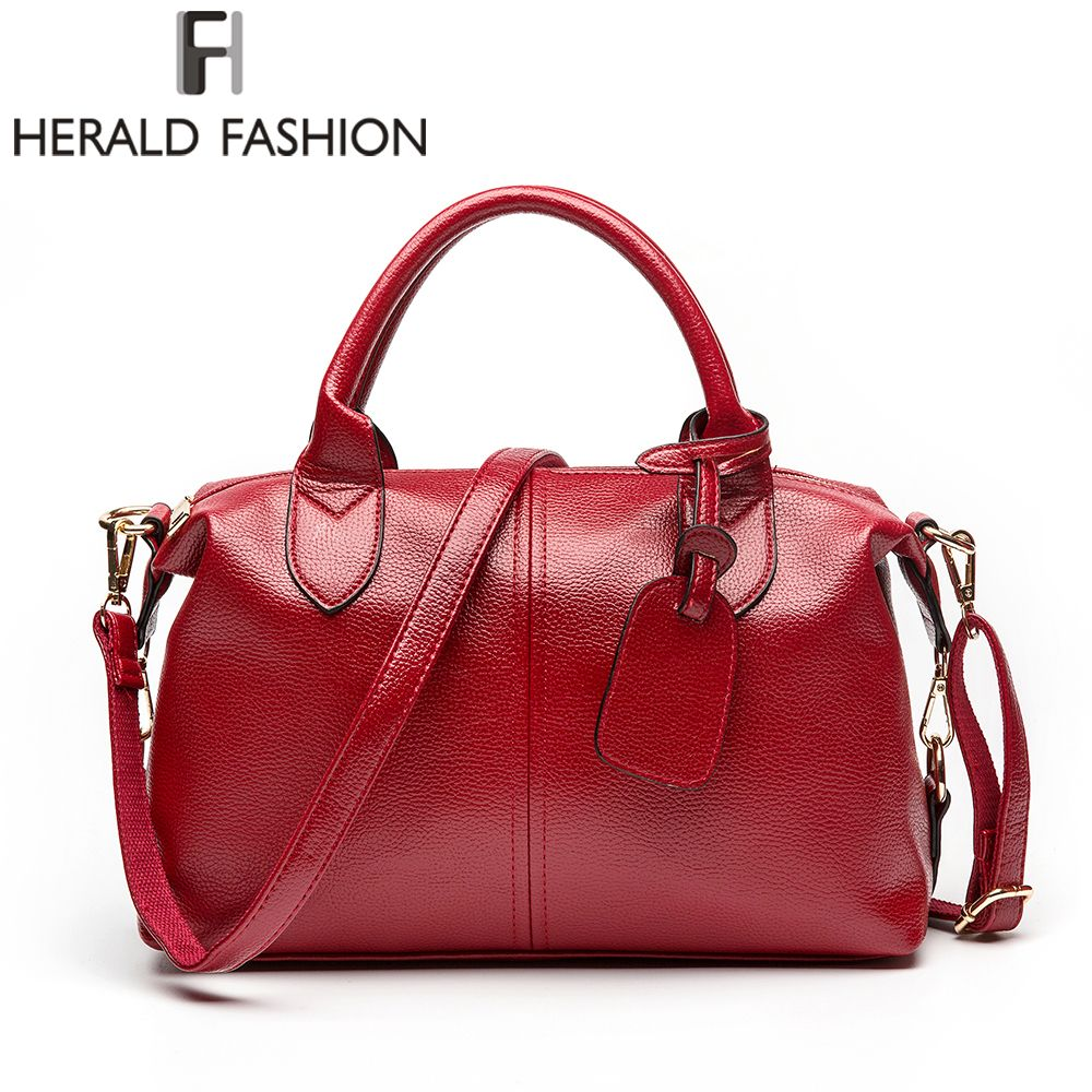 Herald Fashion Solid Women <font><b>Pillow</b></font> Handbag Soft PU Leather Women Top-Handle Bag Tote Shoulder Bag Large Capacity