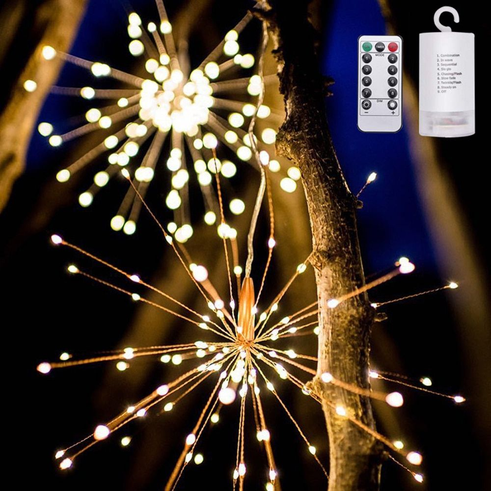 Christmas New Year's 200PCS LED Light String with Waterproof Star Fireworks Holiday Lighting For Fairy Party Deco Street Festoon