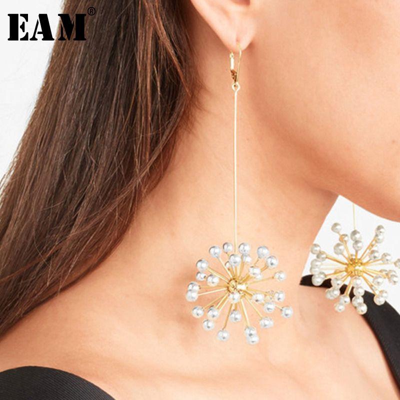 WKOUD EAM Jewelry / 2019 New Fashion Temperament Fireworks Imitation Pearl Radial Long Earrings Women's Accessories S#R120108