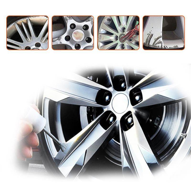 Kit adhésif de réparation de roue en alliage bricolage 5 Minutes outil de fixation de peinture argentée à usage général pour voiture