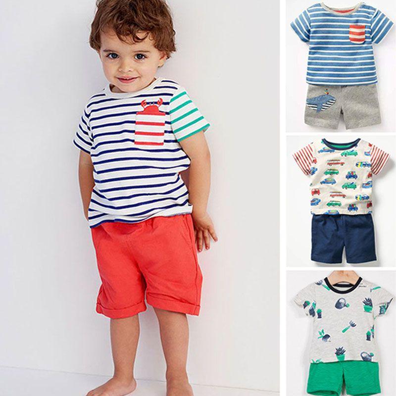 Nouveau 2019 Bébé Garçons Vêtements Set Qualité 100% Coton Enfant vêtements pour enfants courtes manches vêtements pour petit garçon Ensemble costume enfant Outwear