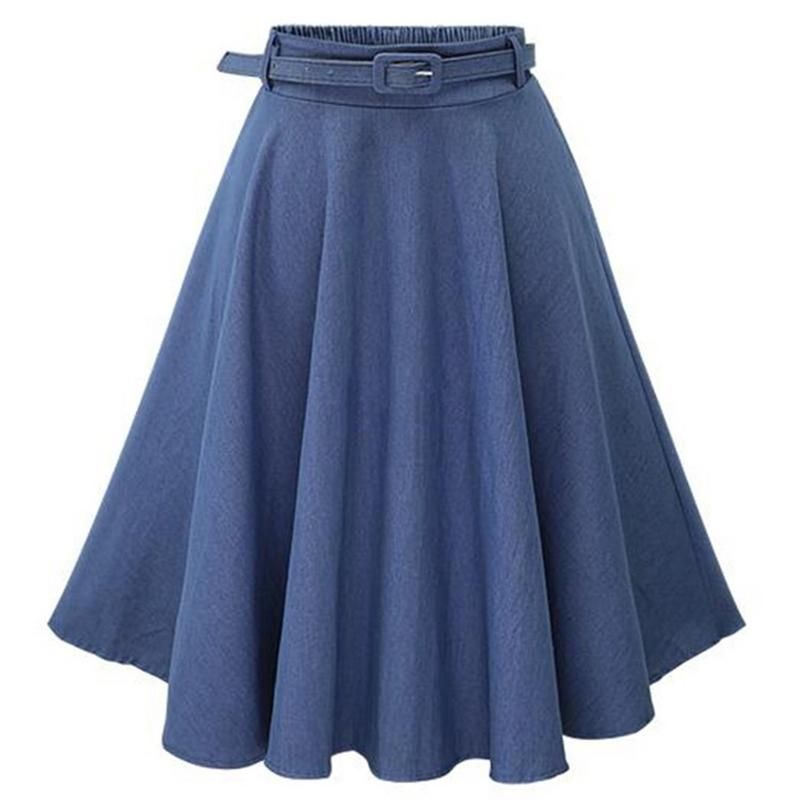 Frauen Herbst Winter Denim Blau Verkauft Casual Hohe Taille Midi Röcke mit Gürtel High Street Vintage Baumwolle Röcke Falda Femme 2018