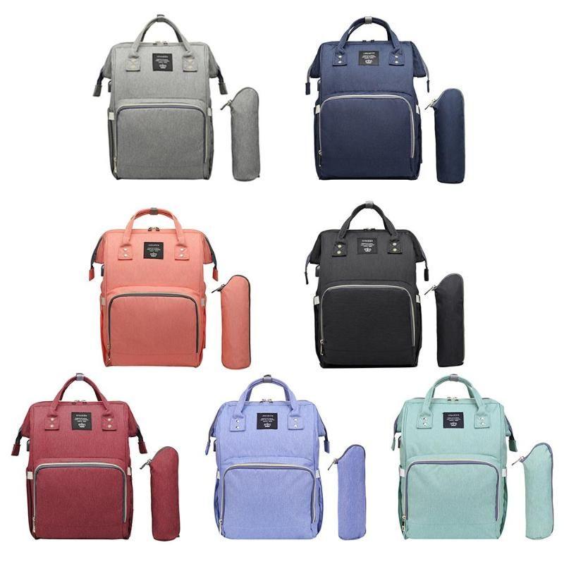 Port USB sac à couches de maternité couleur Pure momie soins infirmiers sac à dos USB charge bébé couches sacs imperméable mère voyage sacs à main