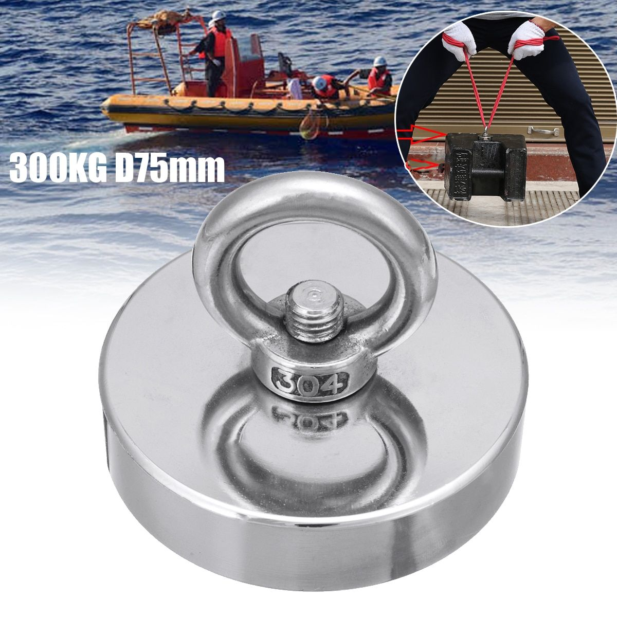 300KG D75mm Salvage Neodymium Magnet Fishing Salvage Recovery Retrieving Magnet Super Powerful Hole Circular Ring Hook
