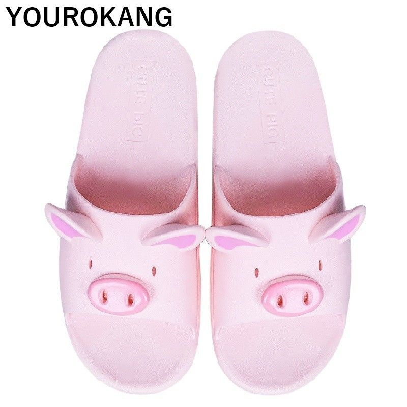 Summer Couple Shoes Home Slippers Cute Indoor Non-slip Bathroom Slippers For Lovers Pig Cartoon Women Slippers Lovely Household