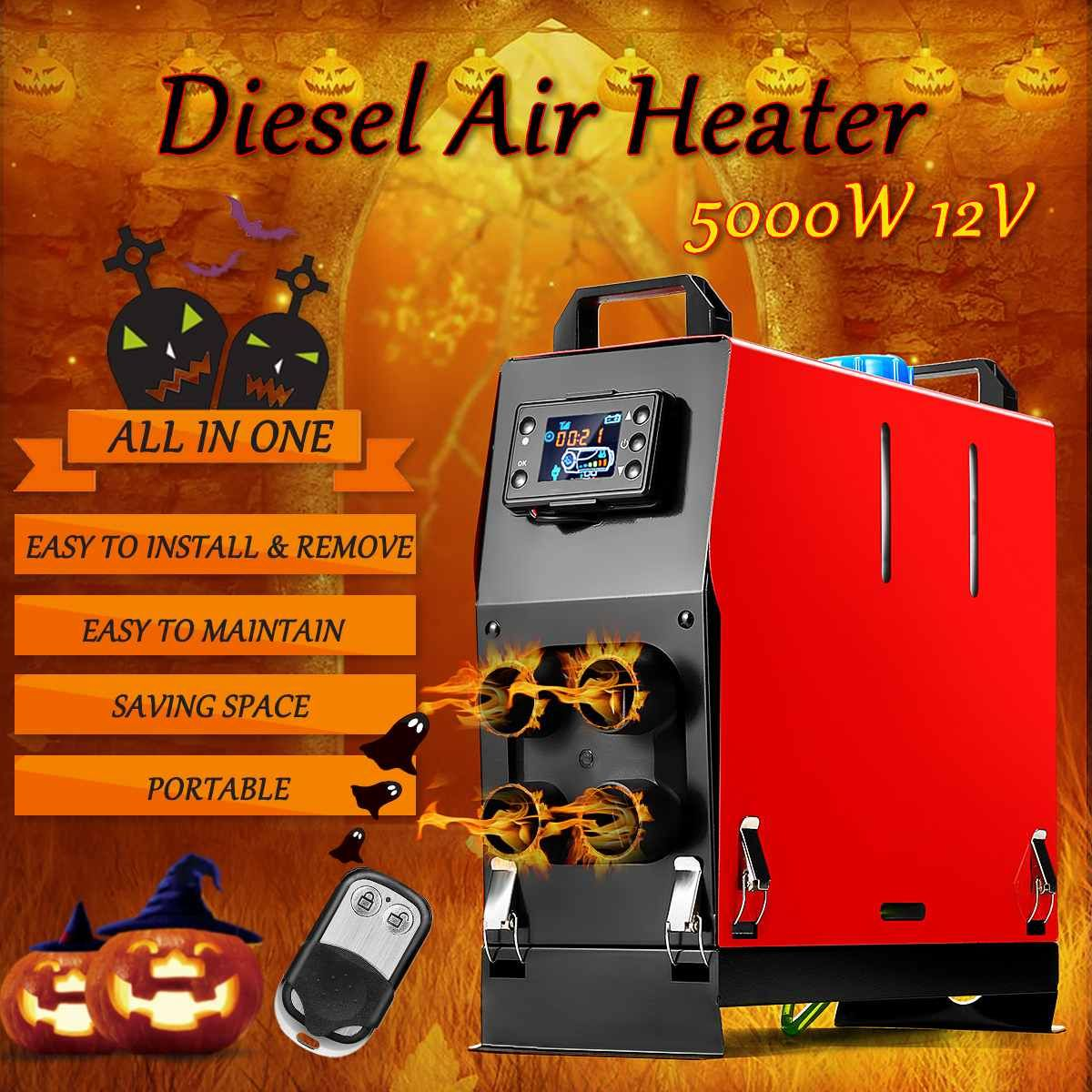 All In One 4 Holes 5KW 12V Integration Air Diesels Air Parking Heater LCD Thermostat switch Car Fan Car Heater Remote Control