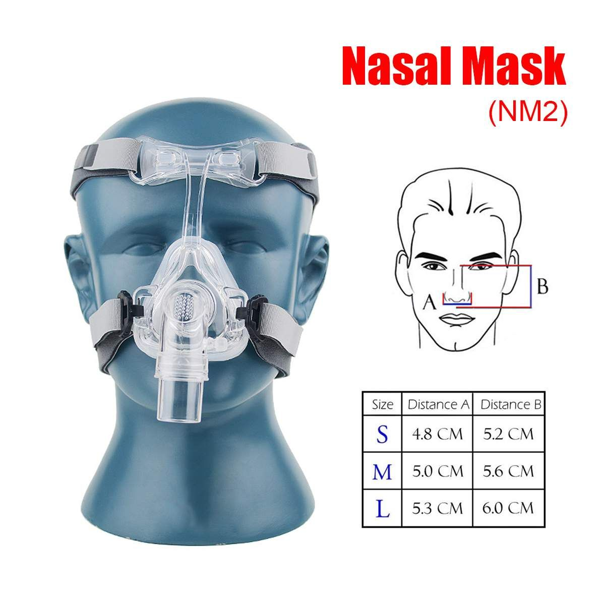 S/M/L Size CPAP Mask Nasal Mask NM2 With Adjustable Strap Headgear Breathing Masks For Sleep Apnea Nasal Anti Snoring Treatment