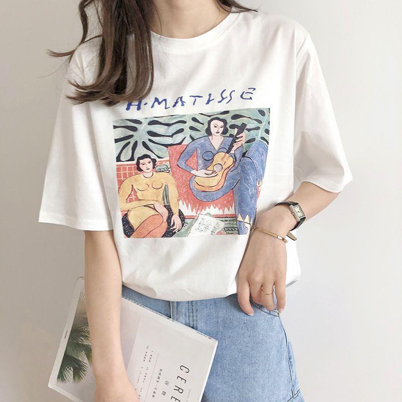 Vintage imprimé O cou à manches courtes femme coton T-shirt mode 2019 décontracté lâche filles été coton t-shirts pulls