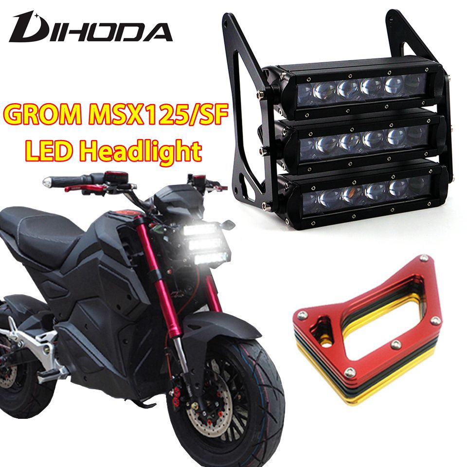 Motorcycle Headlights 90W 12V 3400LM LED Modified three-layer Front Fork Light Lamp 4 color bracket For Honda Grom MSX125 125SF