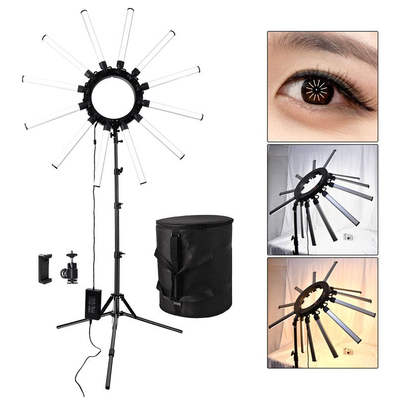 fosoto TL-1800 Photographic Lighting Dimmable 3200-5600K 12 Tubes 672 Leds Camera Photo Studio Phone Photography ring light Lamp