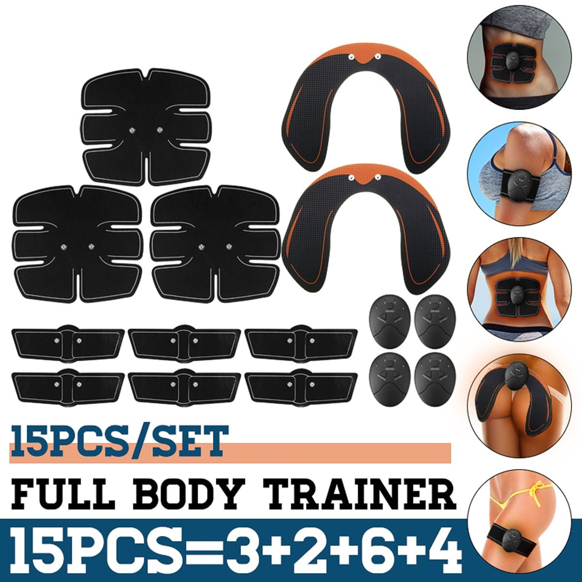 15PCS/Set EMS Muscle Abdominal Trainer Smart Wireless Muscle ABS Hip Abdominal Muscle Stimulator Massage Set Weight Loss