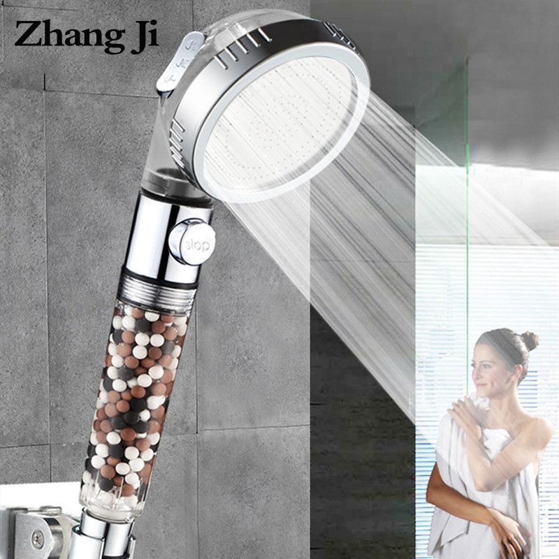 Zhang Ji New Replacement Filter balls saving Water SPA shower head with stop button 3 Modes adjustable high pressure shower head