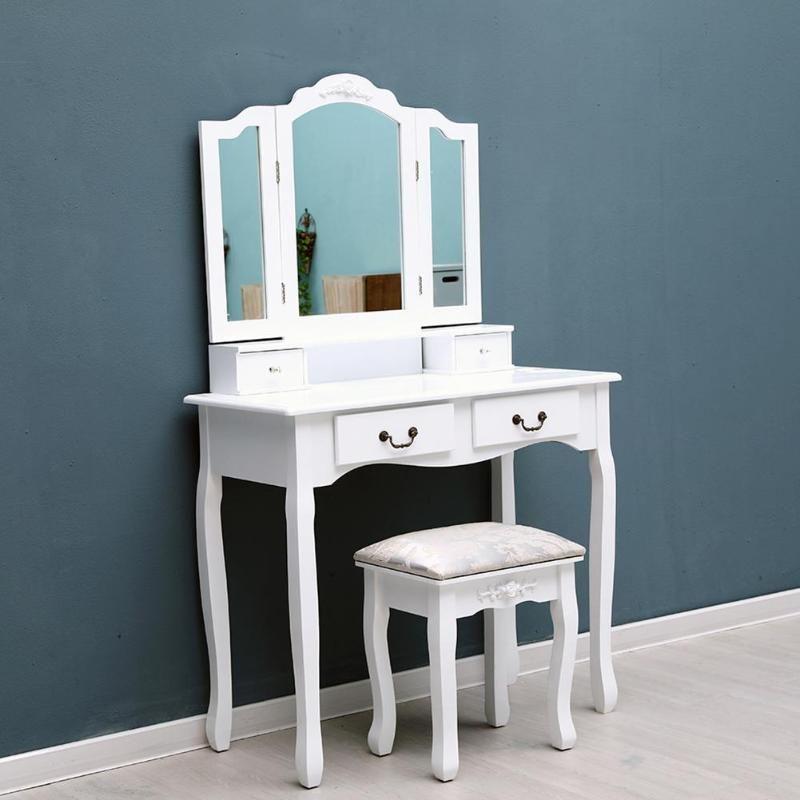 Tri-Klapp Spiegel 4 Schubladen Möbel Dressing Tisch Make-Up Schreibtisch + Hocker Hause Möbel für Schlafzimmer
