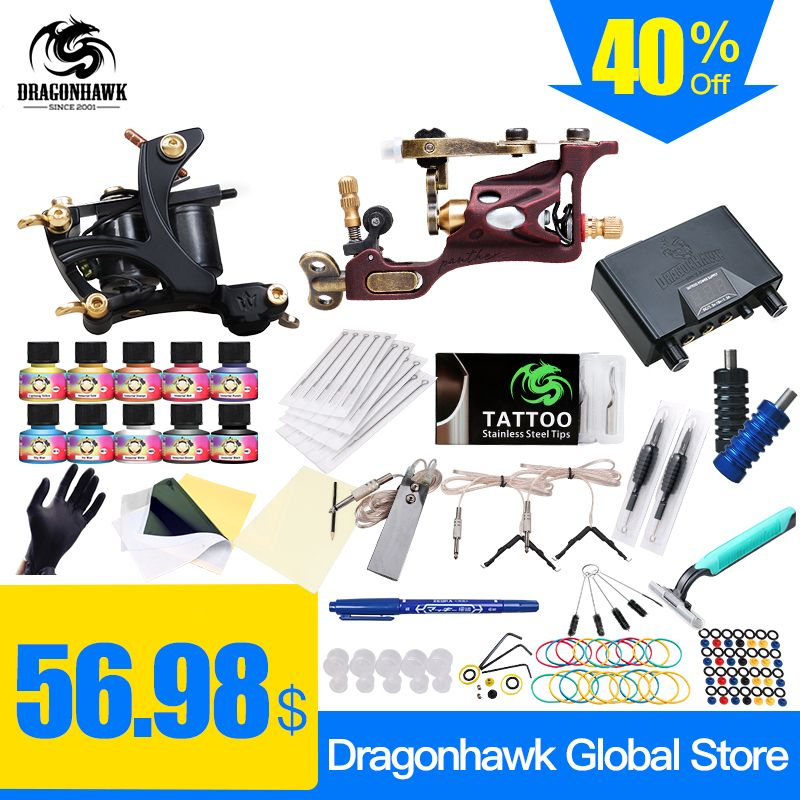 Top livraison gratuite Kit de tatouage complet Machine à tatouer rotative bobines Machine offres spéciales bloc d'alimentation dragon hawk 10 couleurs ensemble d'encre USA