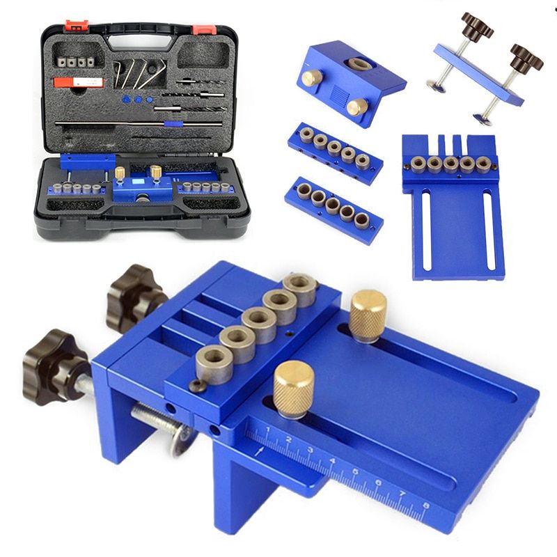 3 in 1 Drilling Locator Drilling Guide Kit Woodwork Hole Dowelling Jig Set Carpentry Tools Mayitr