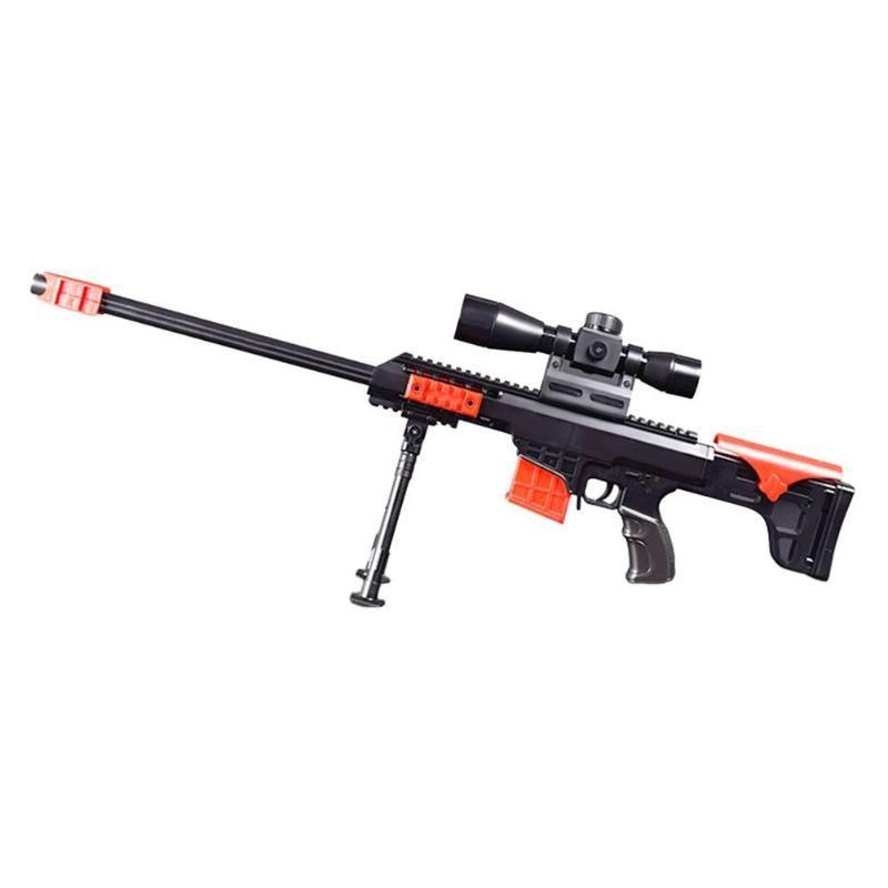Barrett Sniper Rifle Plastic Shape Toy Kids Children Toys Model with 15 Soft Bullets Launch Soft Bullet