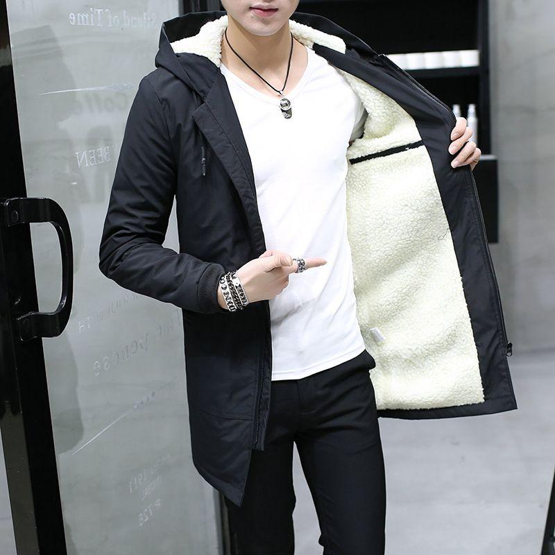 2018 Hiver Veste hommes à capuchon Mince Coréen Parka Hombre longue Veste manteau cachemire hommes coupe-vent Parkas coton jeunes vêtements