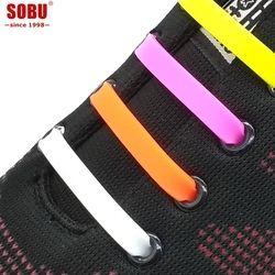 12pcs/lot Shoelaces Novelty No Tie Shoelaces Unisex Elastic Silicone Shoe Laces V002