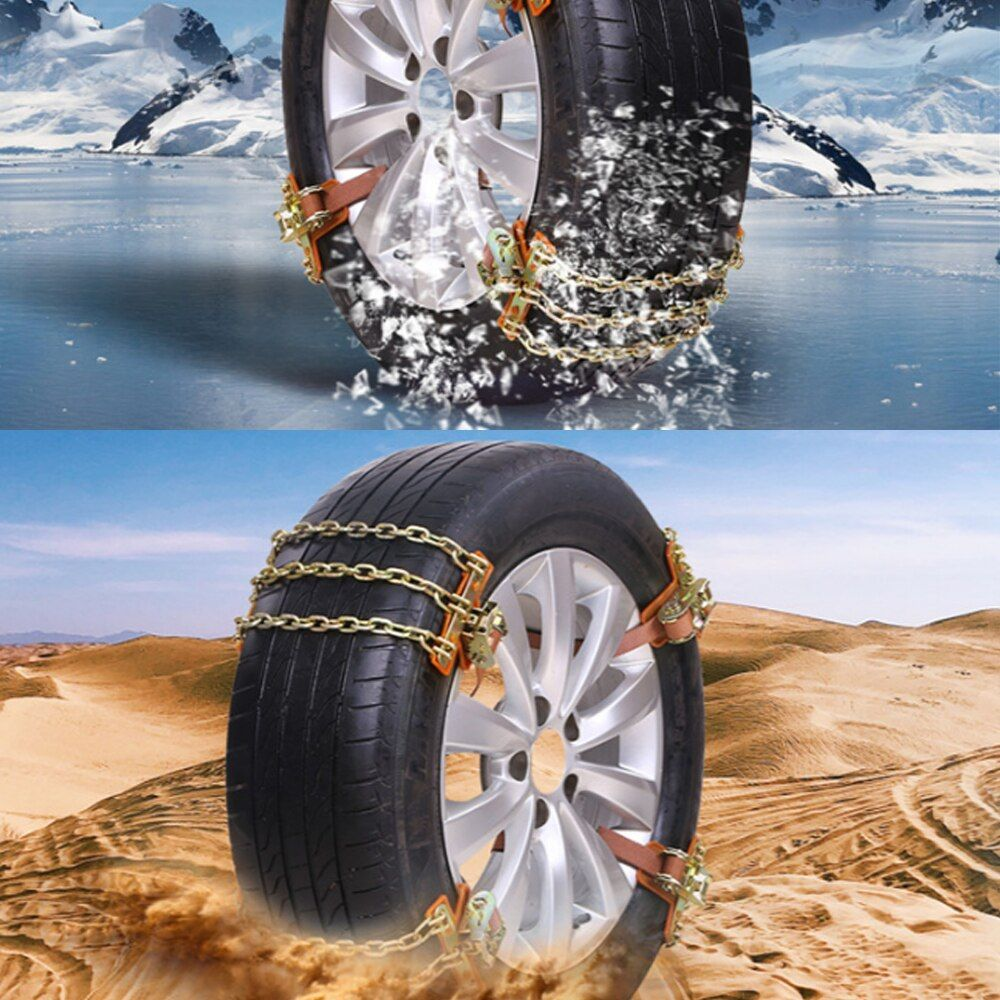 1PC New Wear-resistant Steel Car Snow Chains For Ice/Snow/Mud Road Safe For Driving Balance Design Anti-skid Chains 3 Chains