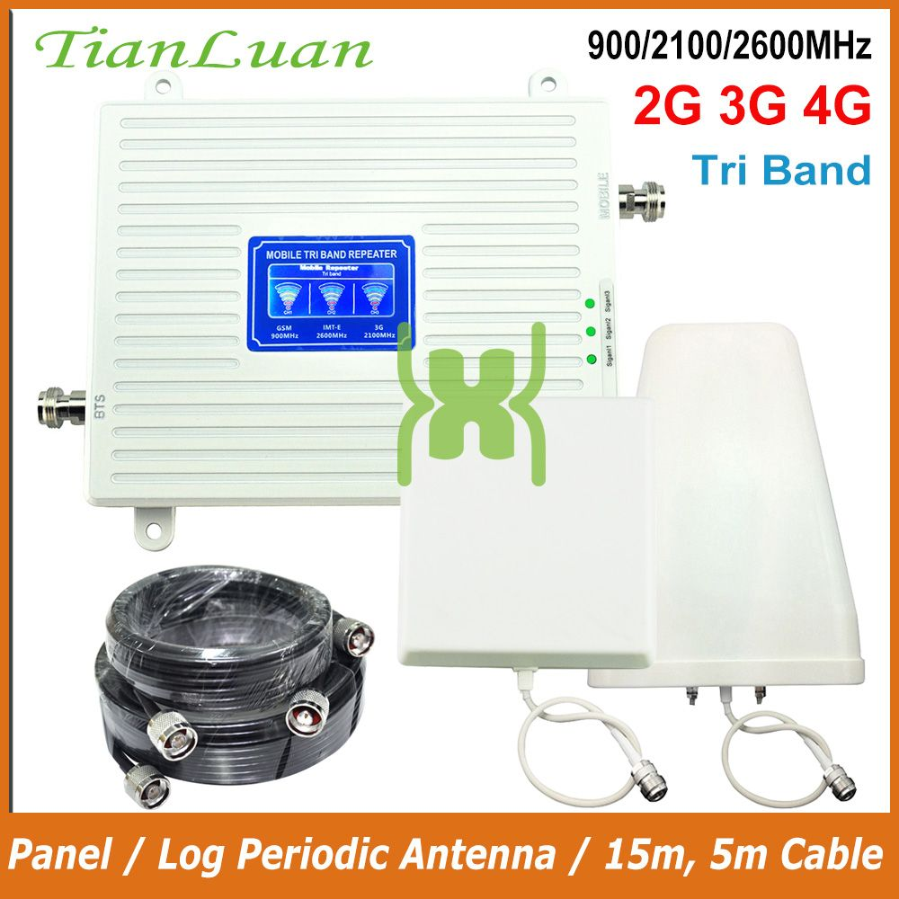 TianLuan Handy Signal Repeater 900 mhz 2100 mhz 2600 mhz 2g 3g 4g Signal Booster LTE GSM W-CDMA IMT-E mit Panel/Log Antenne