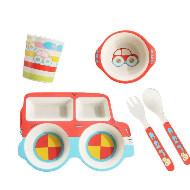 Bamboo Fiber Children Cartoon Automobile Mesh Service Baby feeding Defence Fall Rice Bowl Children Gift Tableware Customized