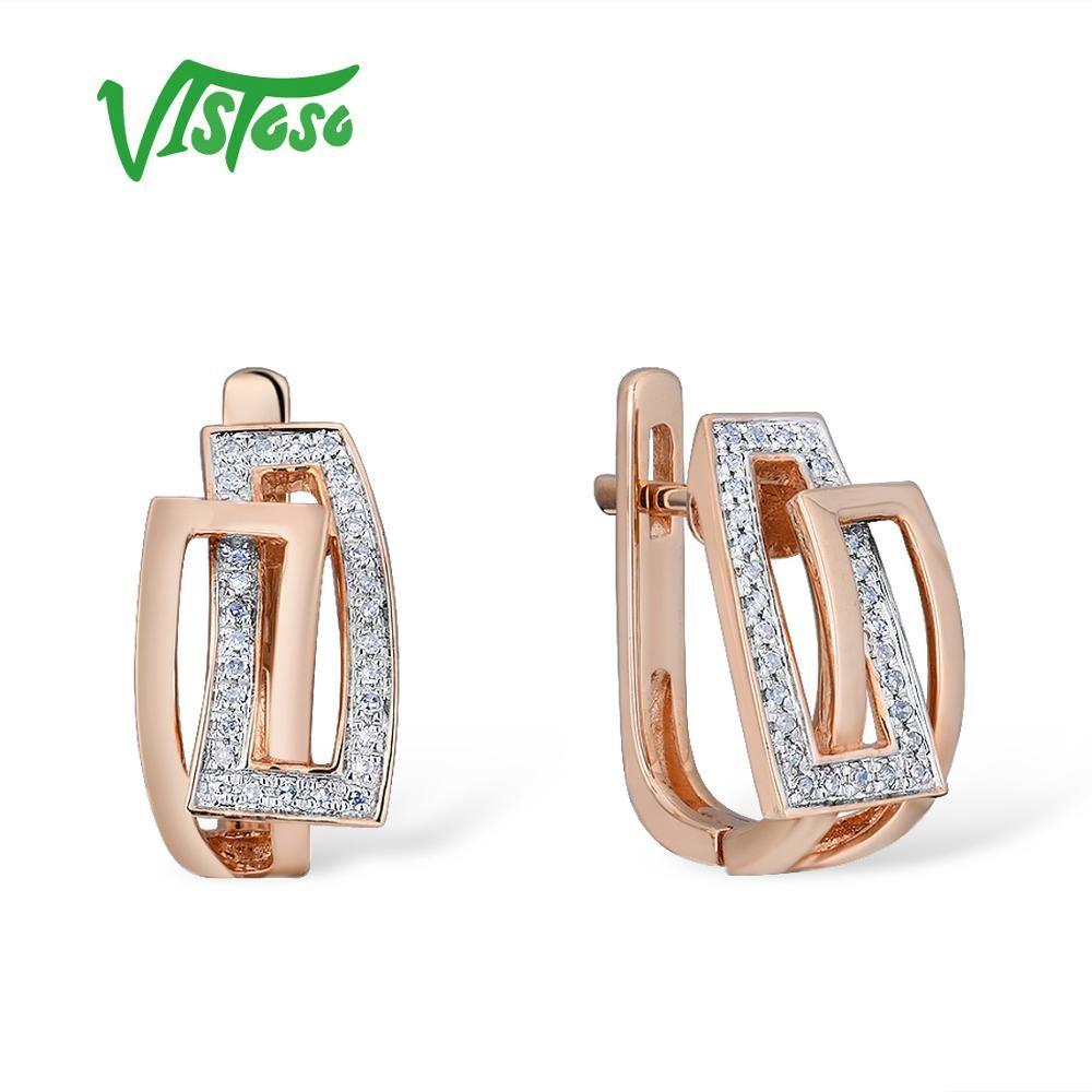 VISTOSO Gold Ohrringe Für Frauen Echte 14 K 585 Rose Gold Funkelnden Diamant Exquisite Jahrestag Hochzeit Band Edlen Schmuck