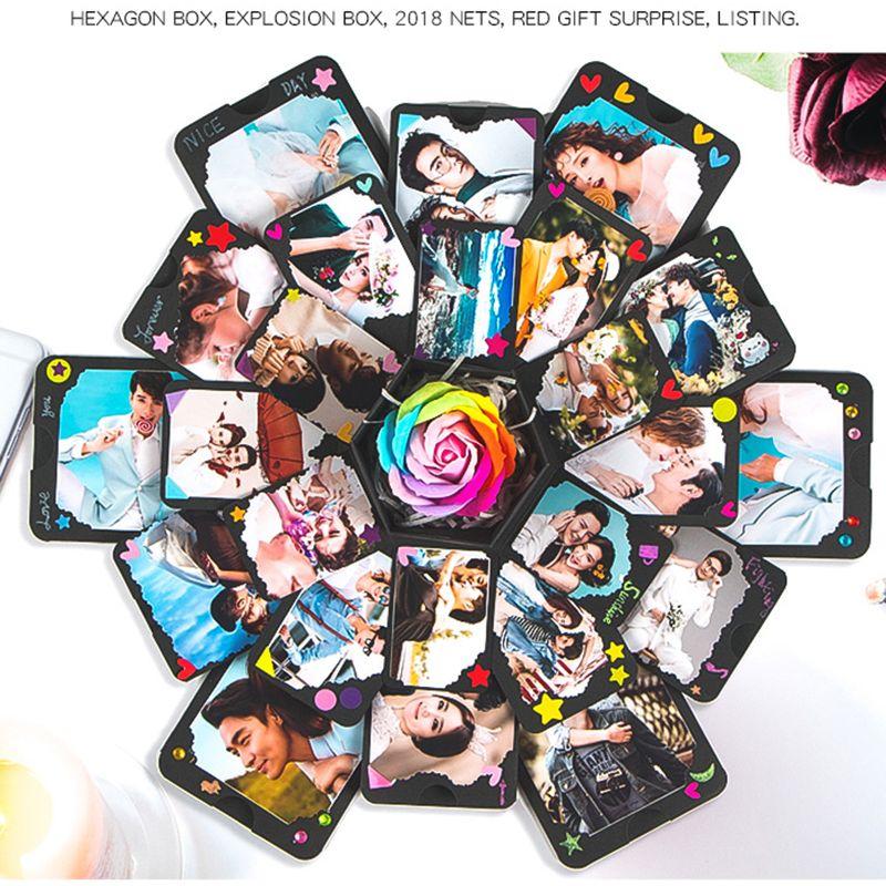 Creative 15x15x15 cm bricolage Surprise amour Explosion boîte cadeau Explosion pour anniversaire Scrapbook bricolage Photo Album cadeau d'anniversaire