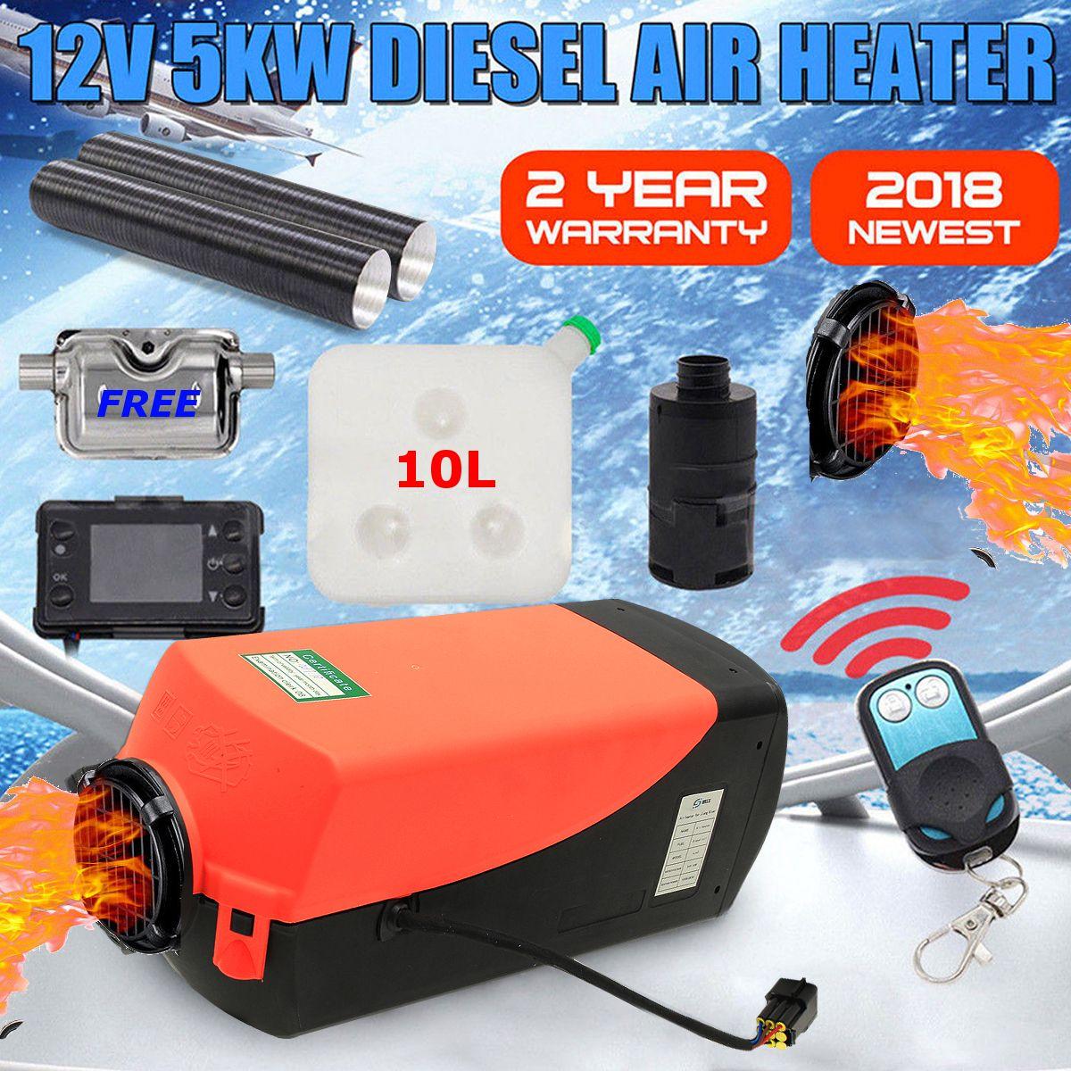 12 V 5000 W écran lcd Air diesels Réchauffeur De Carburant Unique Trou 5KW Pour Bateaux Bus radiateur de voiture Avec télécommande et Silencieux pour livraison